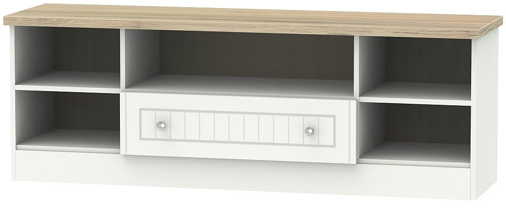 Vienna 1 Drawer Wide Open TV Unit - Porcelain Ash and Bordeaux Oak