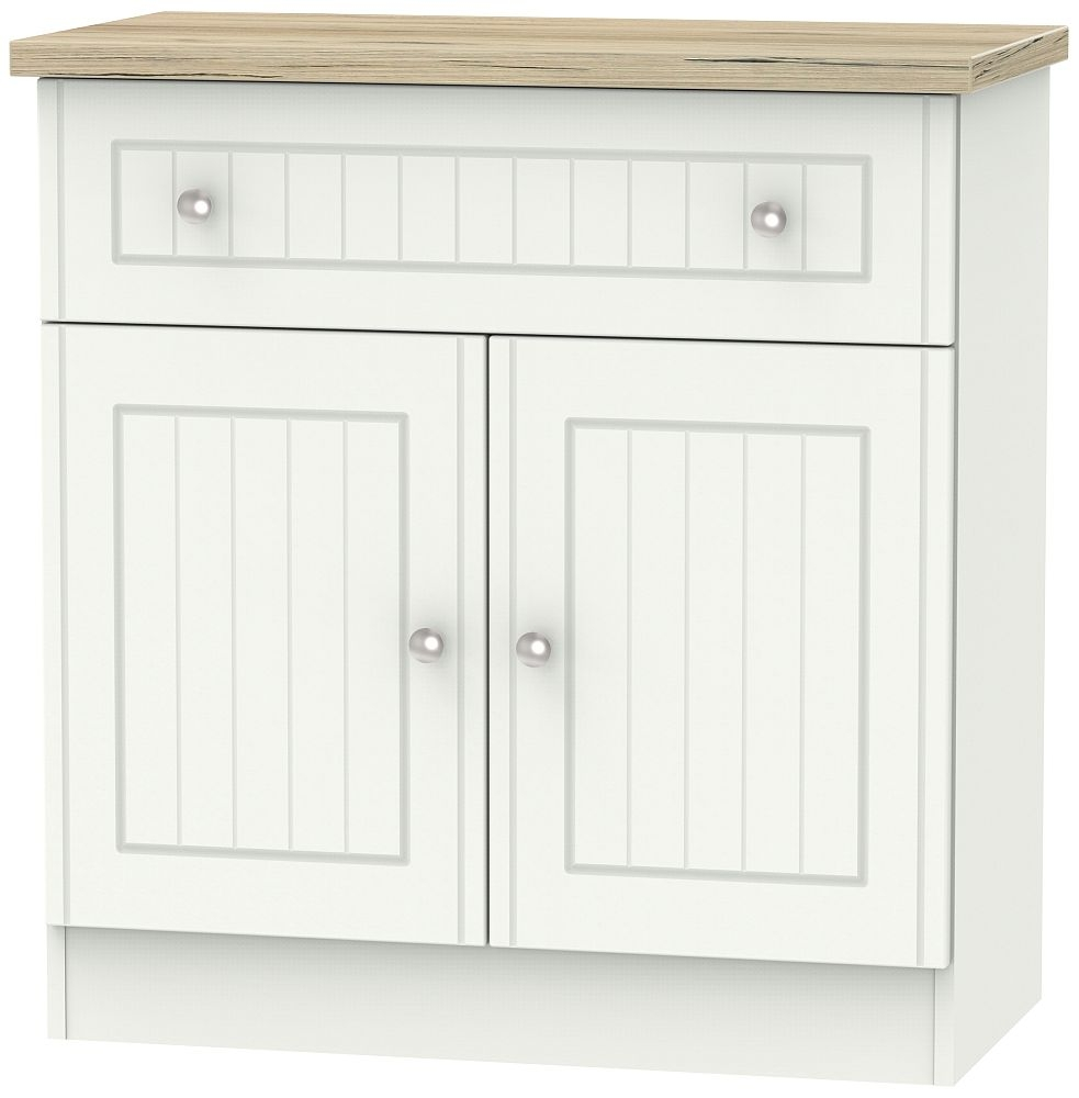 Vienna 2 Door 1 Drawer Narrow Sideboard - Porcelain Ash and Bordeaux Oak
