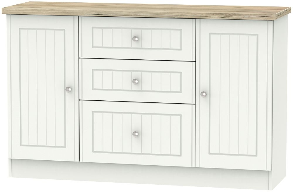 Vienna 2 Door 3 Drawer Sideboard - Porcelain Ash and Bordeaux Oak