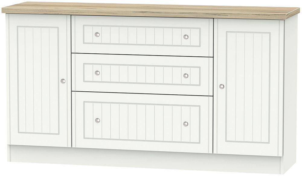 Vienna 2 Door 3 Drawer Wide Sideboard - Porcelain Ash and Bordeaux Oak