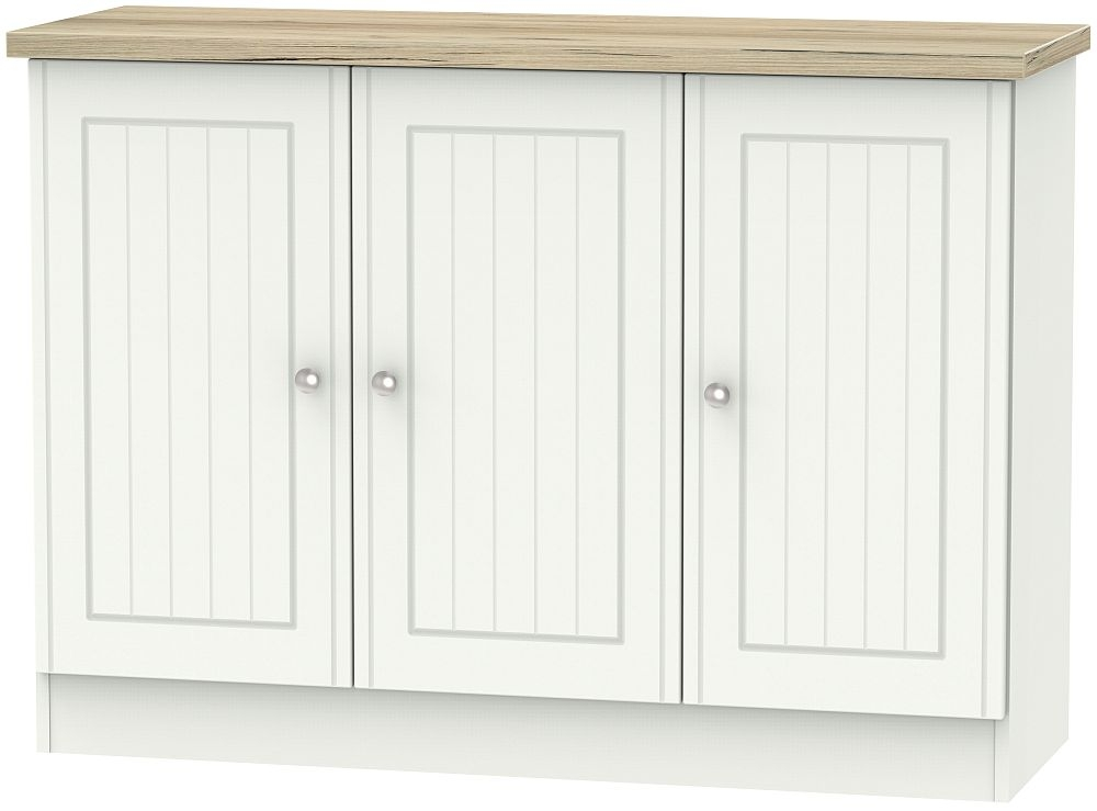 Vienna 3 Door Narrow Sideboard - Porcelain Ash and Bordeaux Oak