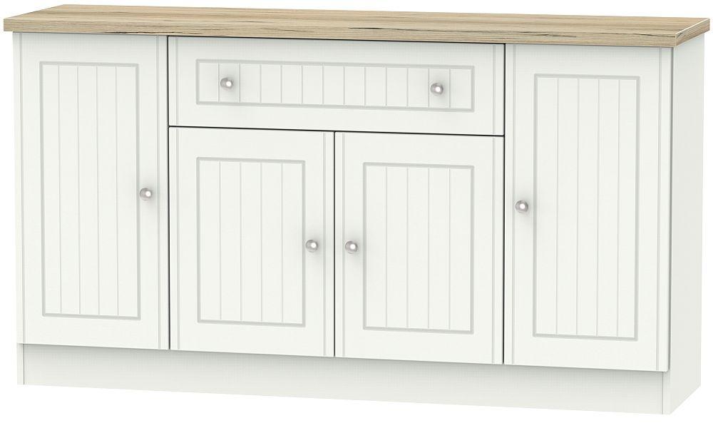 Vienna 4 Door 1 Drawer Wide Sideboard - Porcelain Ash and Bordeaux Oak
