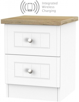 Vienna Porcelain 2 Drawer Bedside Cabinet with Integrated Wireless Charging