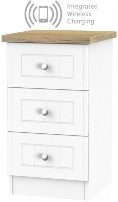 Vienna Porcelain 3 Drawer Bedside Cabinet with Integrated Wireless Charging