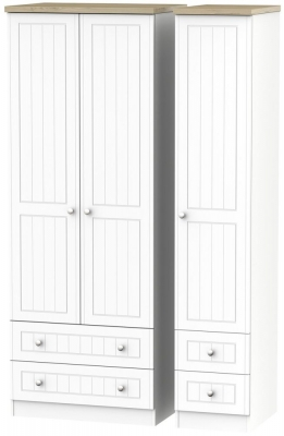 Vienna Porcelain Triple Wardrobe - Tall with Drawer