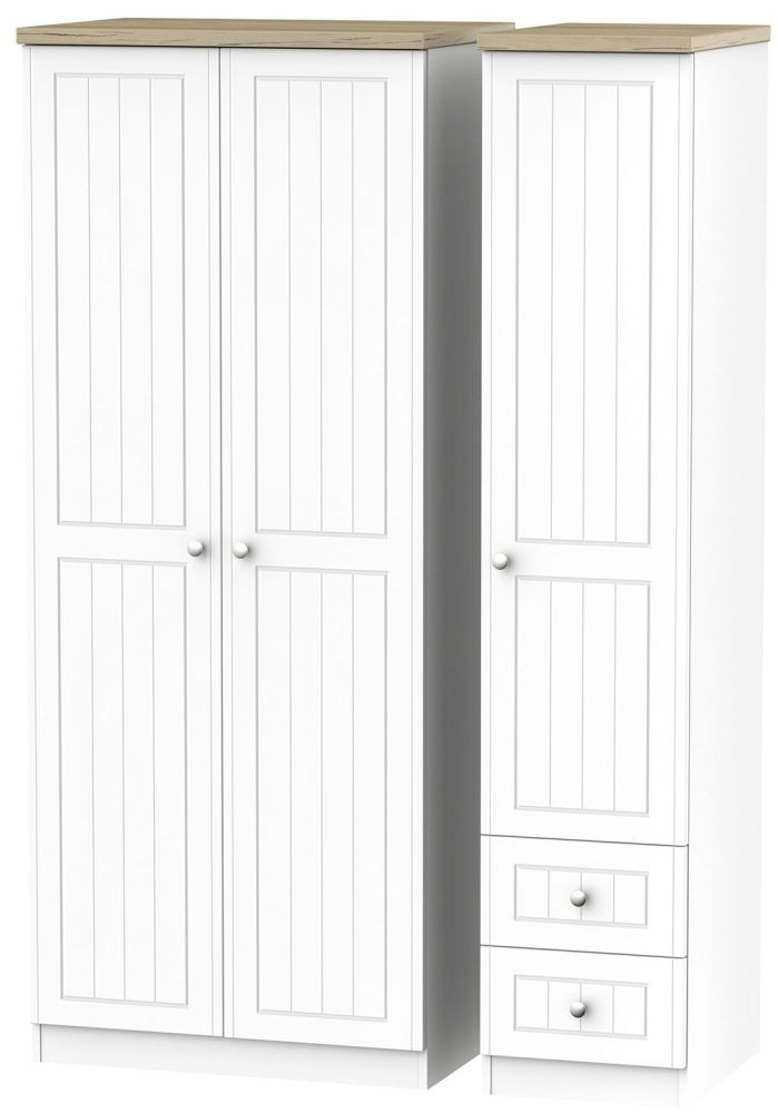 Vienna Porcelain Triple Wardrobe - 2 Drawer