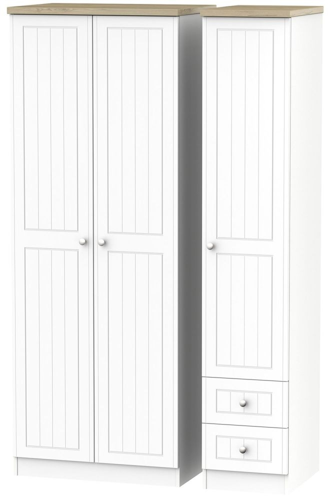 Vienna Porcelain Triple Wardrobe - Tall Plain with 2 Drawer