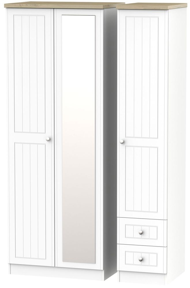 Vienna Porcelain Triple Wardrobe - Tall with 2 Drawer and Mirror