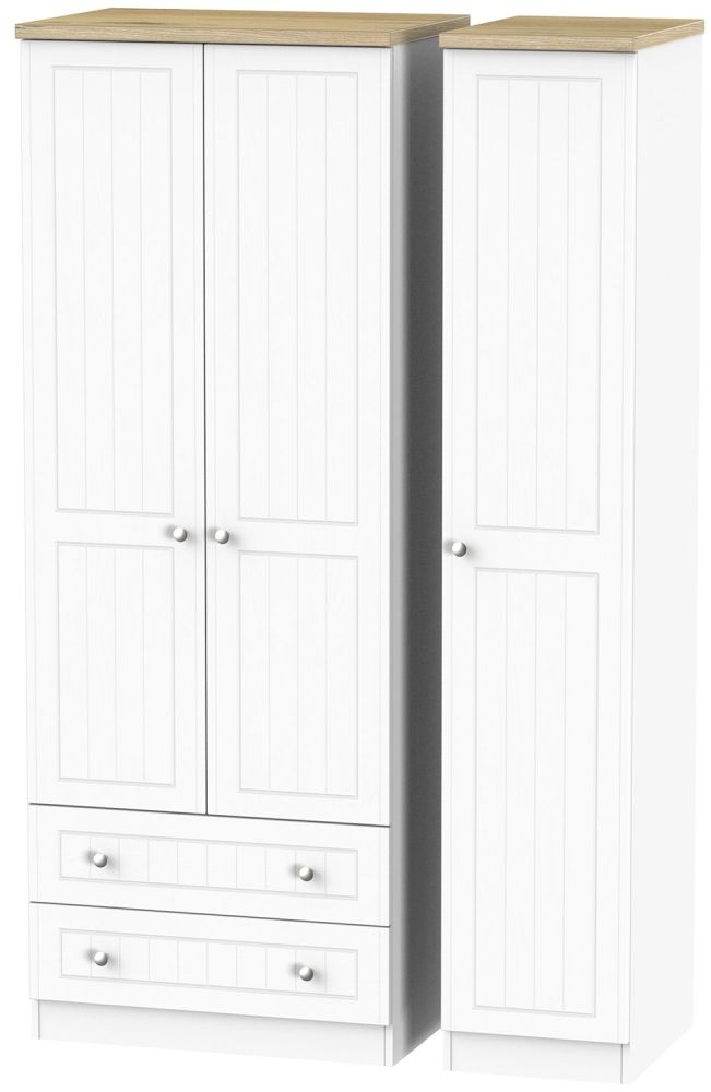 Vienna Porcelain 3 Door 2 Left Drawer Tall Wardrobe