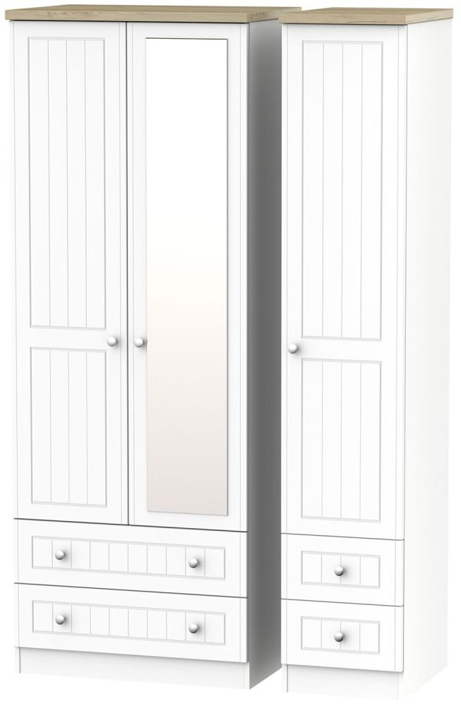 Vienna Porcelain Triple Wardrobe - Tall with Mirror and Drawer