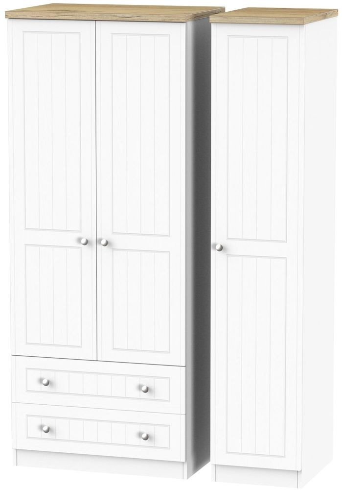 Vienna Porcelain Triple Wardrobe with 2 Drawer