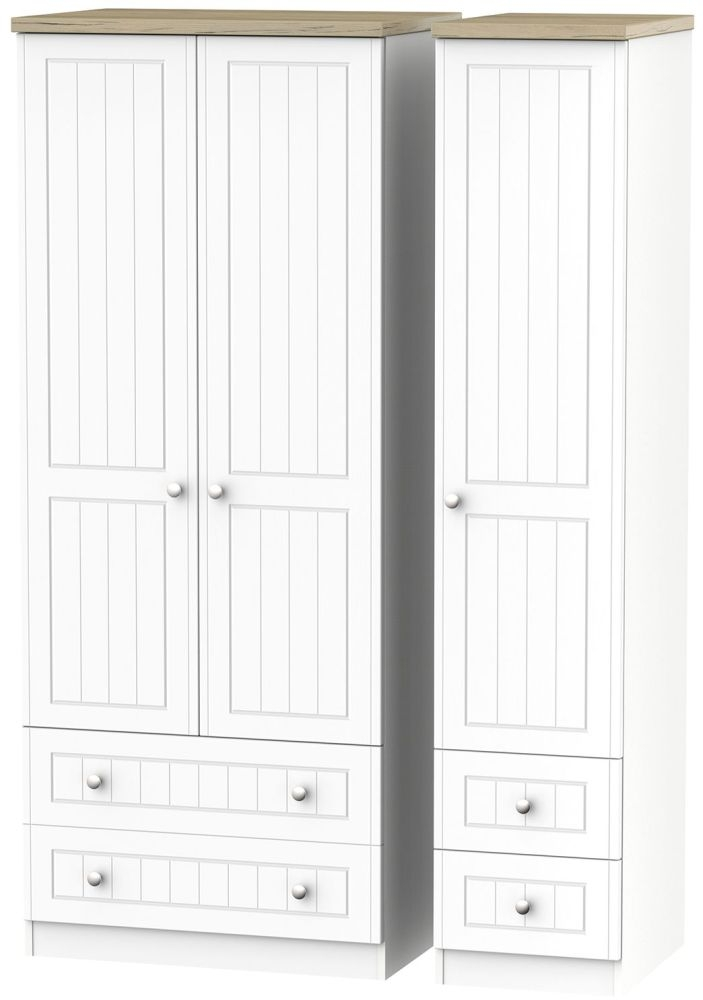 Vienna Porcelain Triple Wardrobe with Drawer