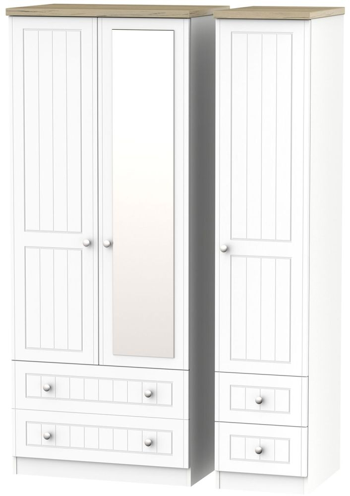 Vienna Porcelain Triple Wardrobe with Mirror and Drawer