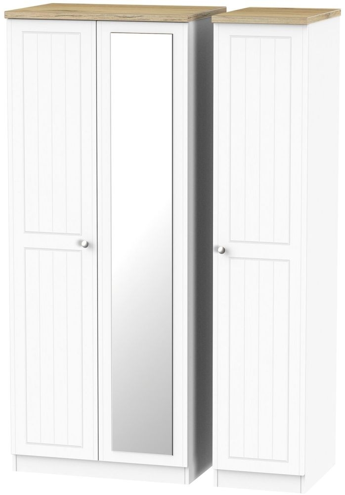 Vienna Porcelain 3 Door Mirror Triple Wardrobe