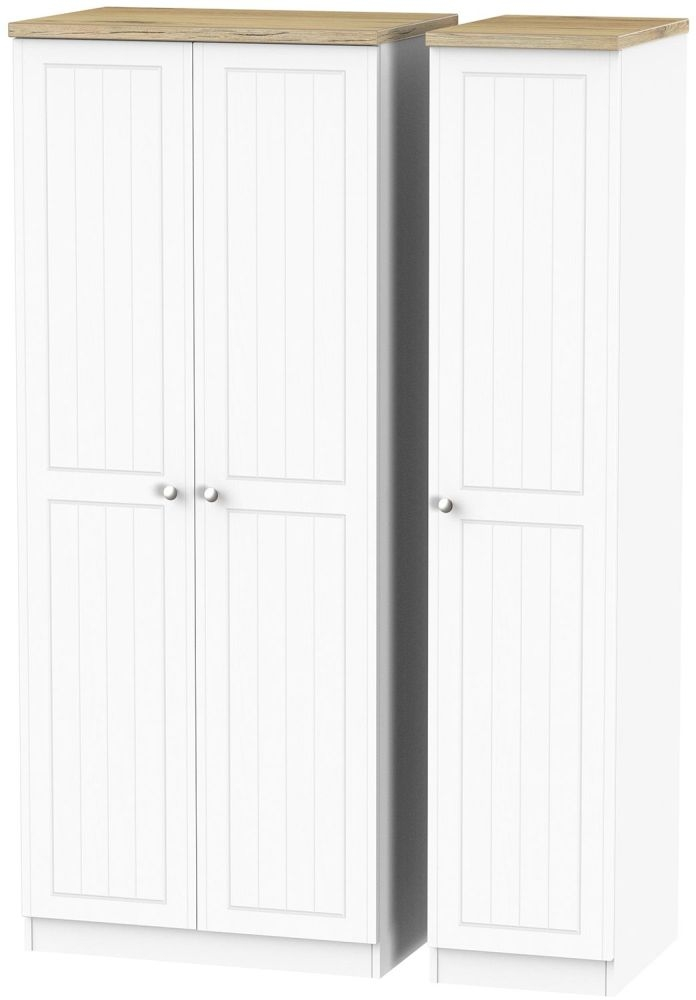 Vienna Porcelain Triple Wardrobe with Plain