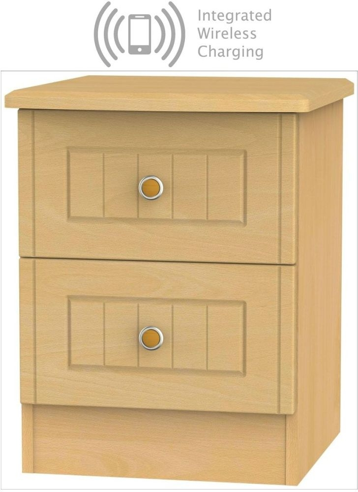 Warwick Beech 2 Drawer Bedside Cabinet with Integrated Wireless Charging