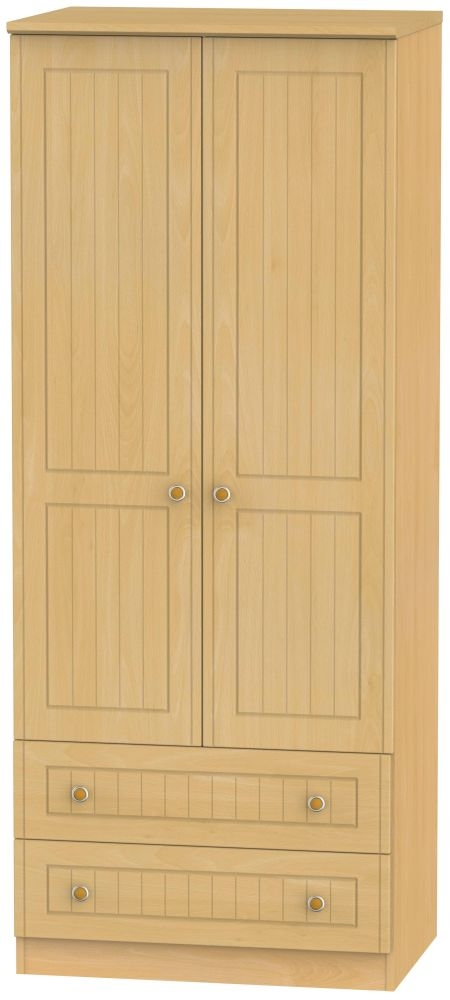 Warwick Beech 2 Door 2 Drawer Wardrobe