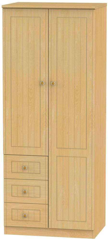Warwick Beech 2 Door 3 Drawer Wardrobe