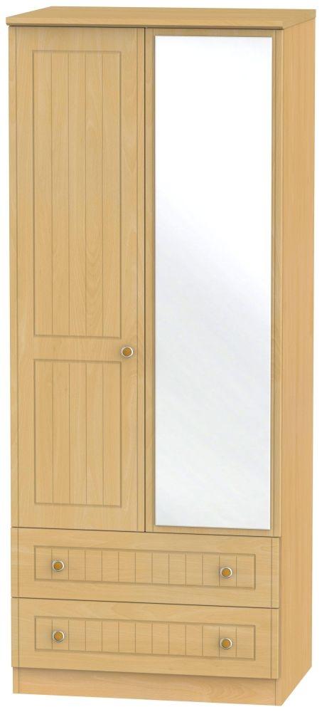 Warwick Beech 2 Door Mirror Combi Wardrobe