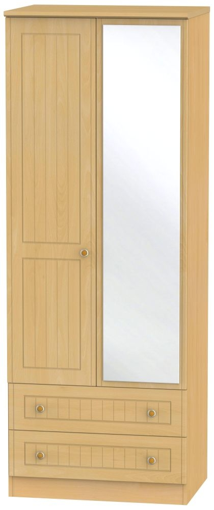 Warwick Beech 2 Door Tall Mirror Combi Wardrobe