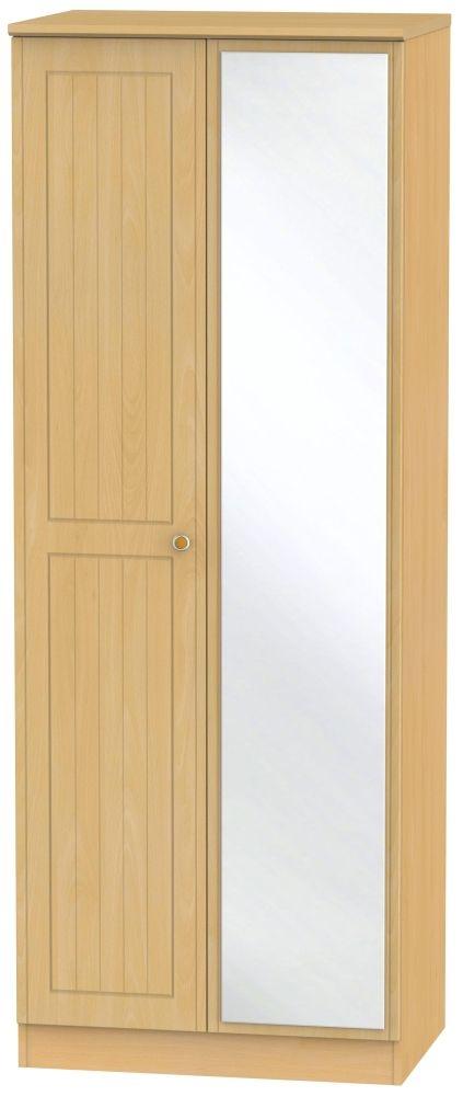 Warwick Beech 2 Door Tall Mirror Wardrobe