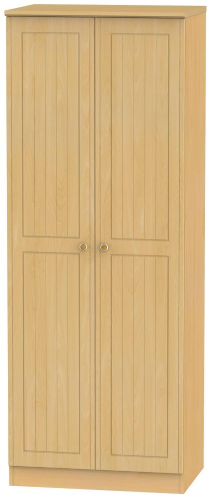 Warwick Beech 2 Door Tall Plain Wardrobe