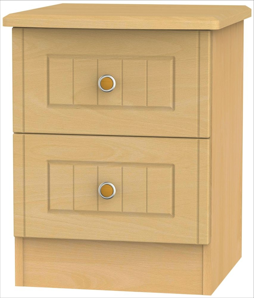Warwick Beech 2 Drawer Bedside Cabinet