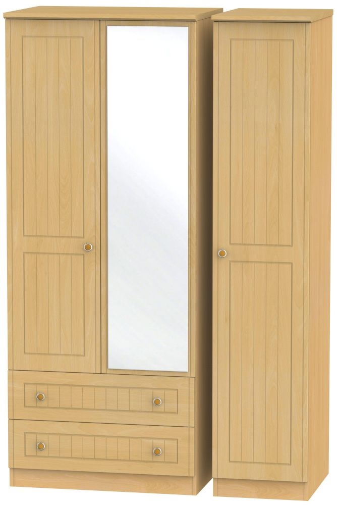 Warwick Beech 3 Door 2 Left Drawer Mirror Wardrobe