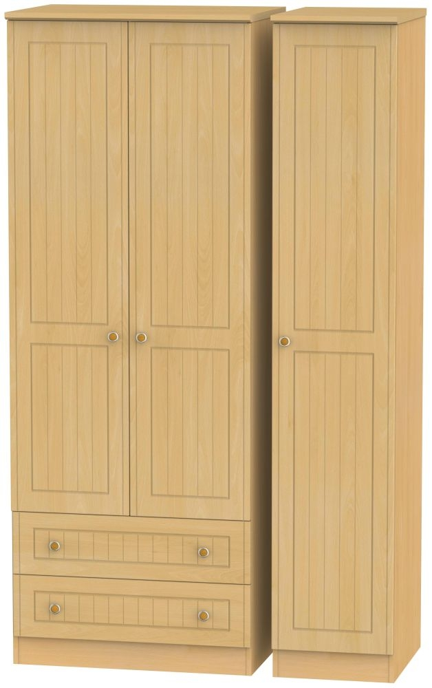 Warwick Beech 3 Door 2 Left Drawer Tall Wardrobe