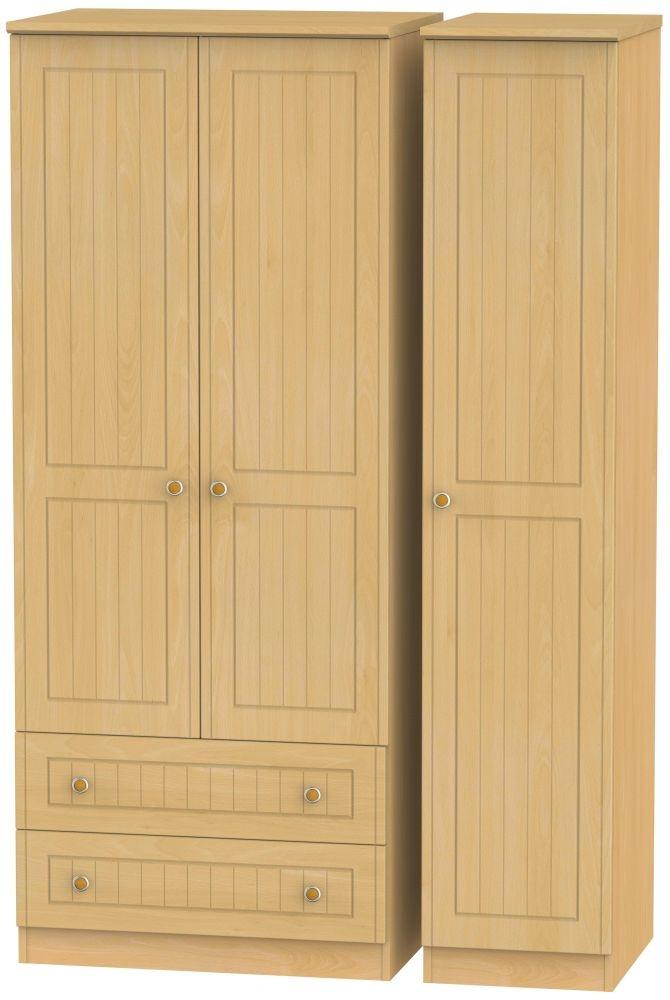 Warwick Beech 3 Door 2 Left Drawer Wardrobe