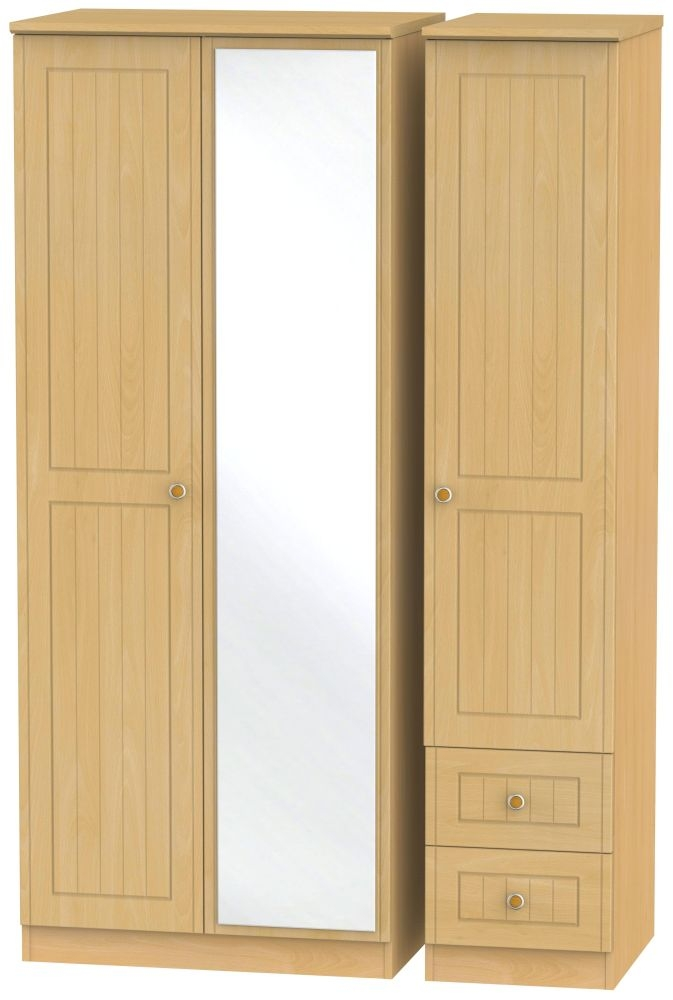 Warwick Beech 3 Door 2 Right Drawer Mirror Wardrobe