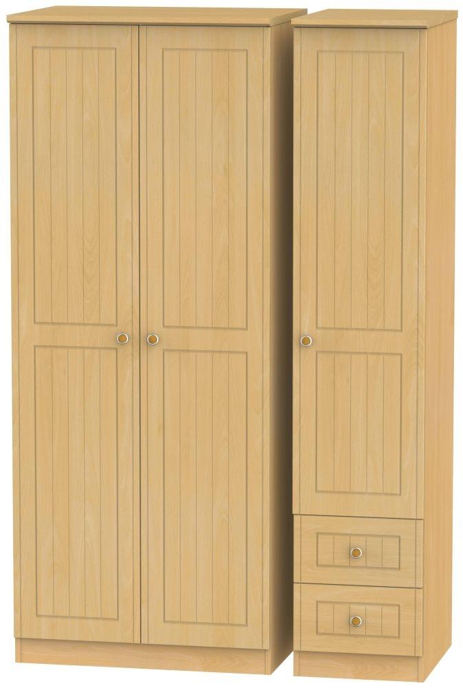 Warwick Beech 3 Door 2 Right Drawer Plain Wardrobe