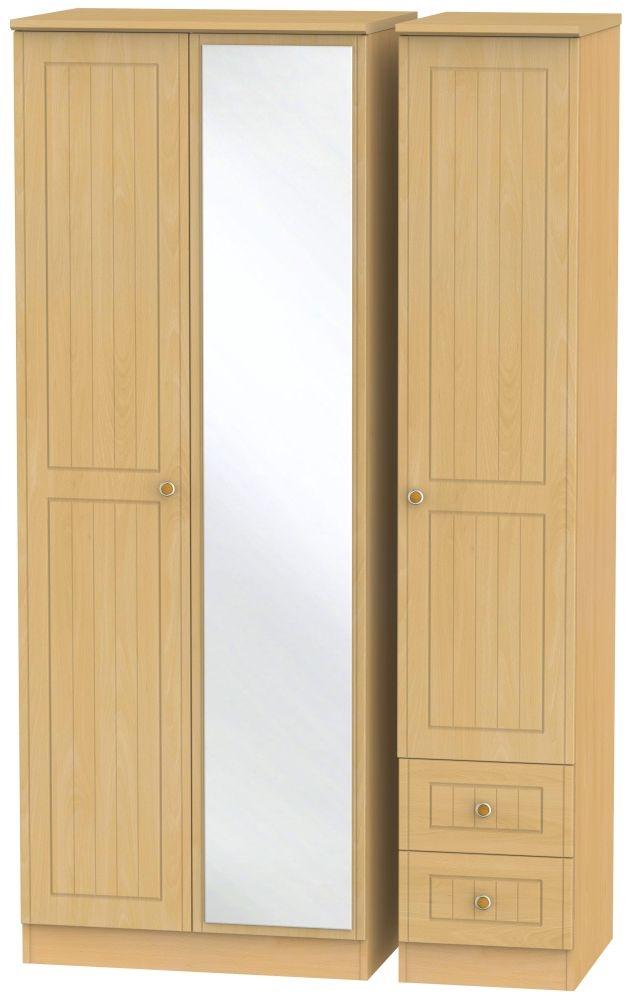 Warwick Beech 3 Door 2 Right Drawer Tall Mirror Wardrobe