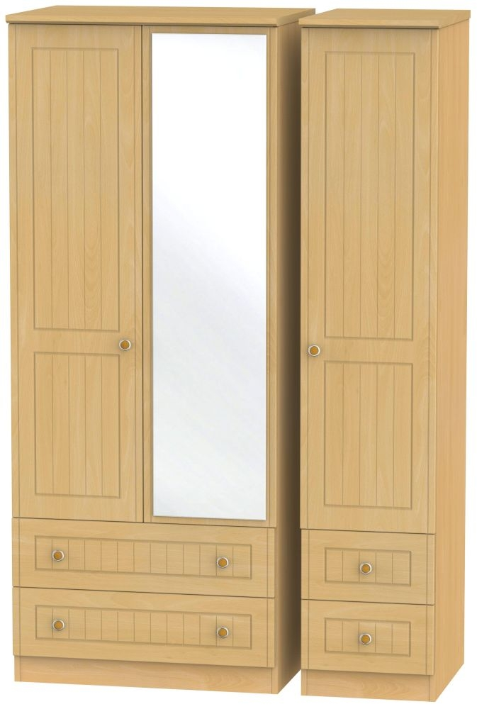 Warwick Beech 3 Door 4 Drawer Mirror Wardrobe