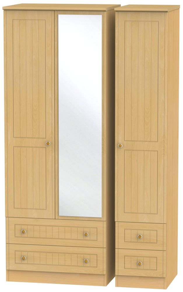 Warwick Beech 3 Door 4 Drawer Tall Mirror Wardrobe