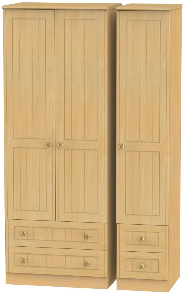 Warwick Beech 3 Door 4 Drawer Tall Wardrobe