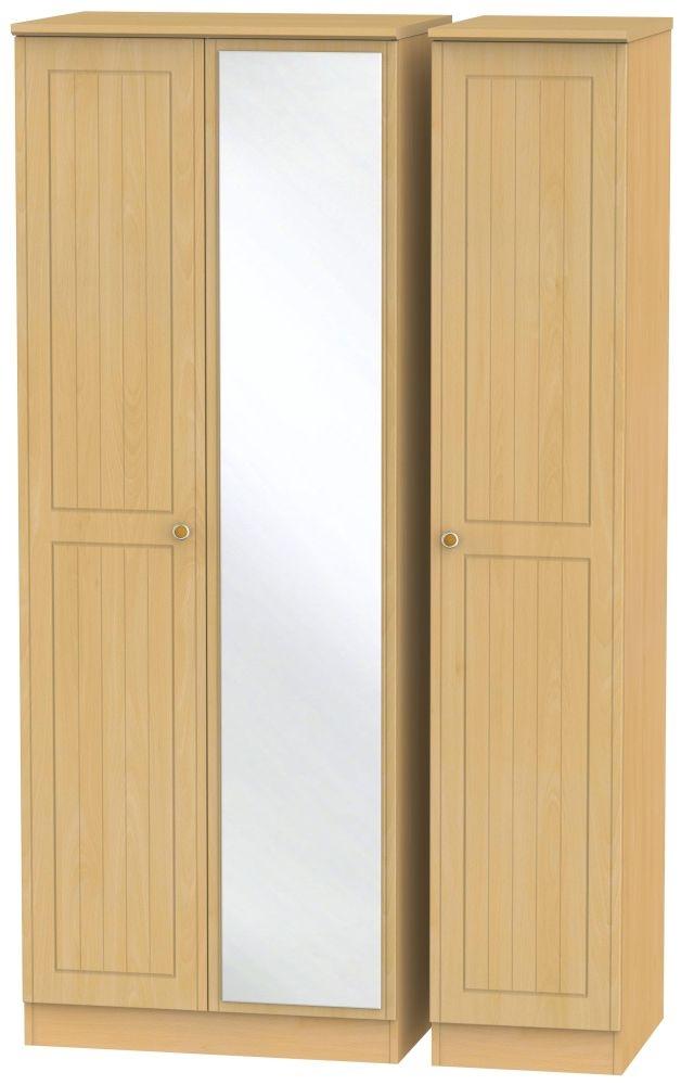 Warwick Beech 3 Door Tall Mirror Wardrobe