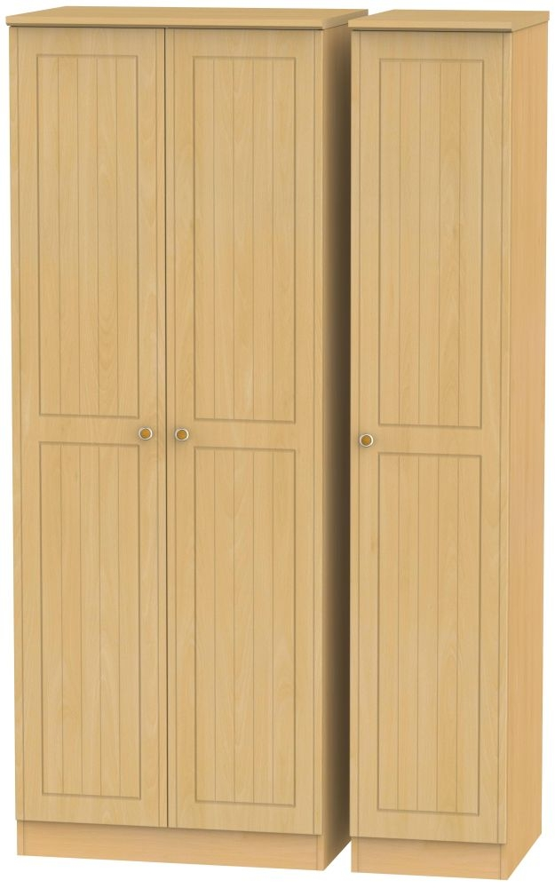 Warwick Beech 3 Door Tall Plain Wardrobe