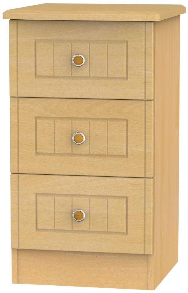 Warwick Beech 3 Drawer Bedside Cabinet
