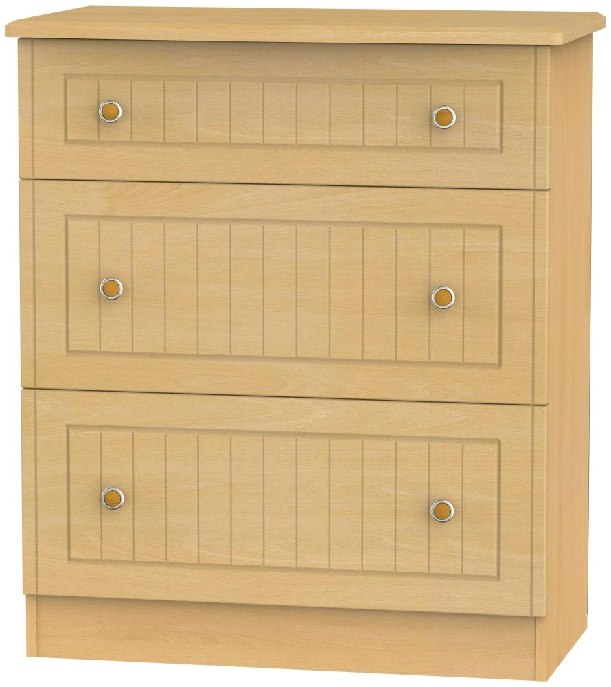 Warwick Beech 3 Drawer Deep Chest
