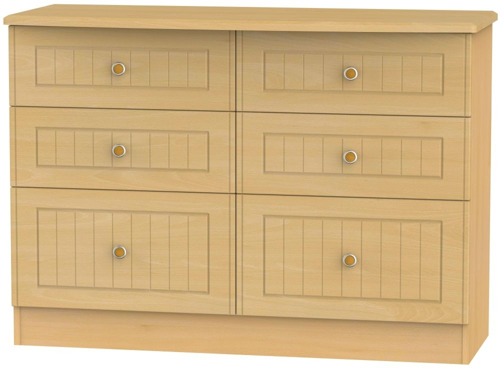 Warwick Beech 6 Drawer Midi Chest