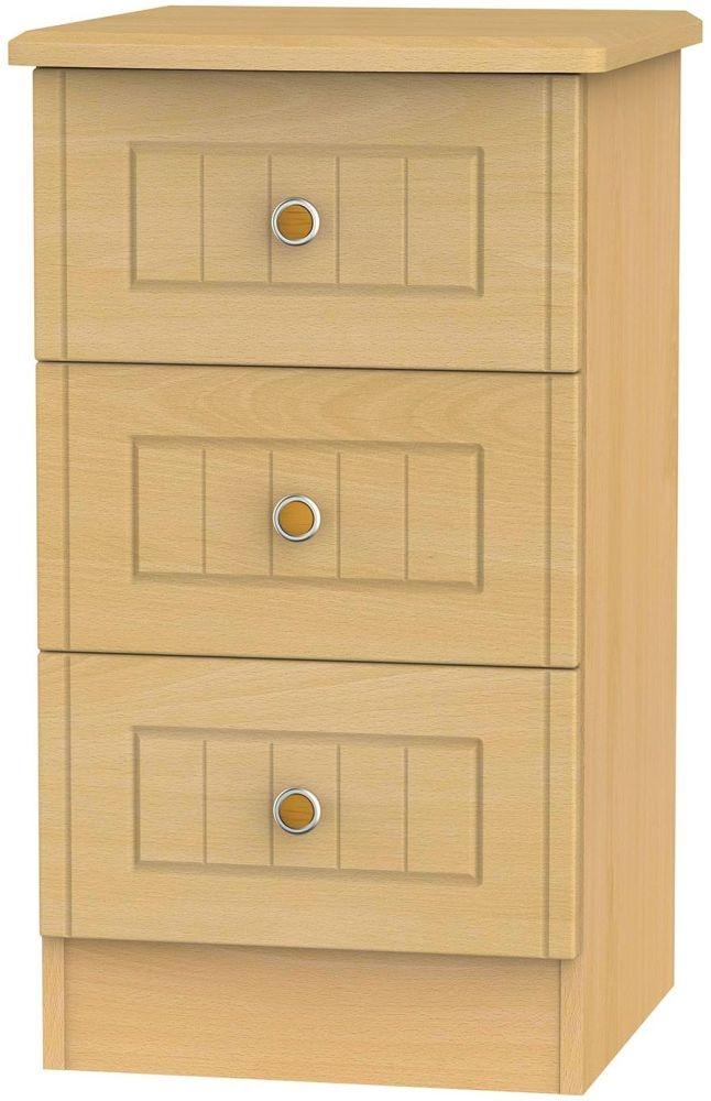 Warwick Beech Bedside Cabinet - 3 Drawer Locker