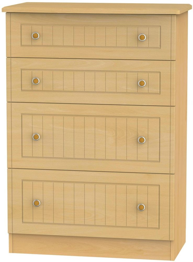 Warwick Beech Chest of Drawer - 4 Drawer Deep
