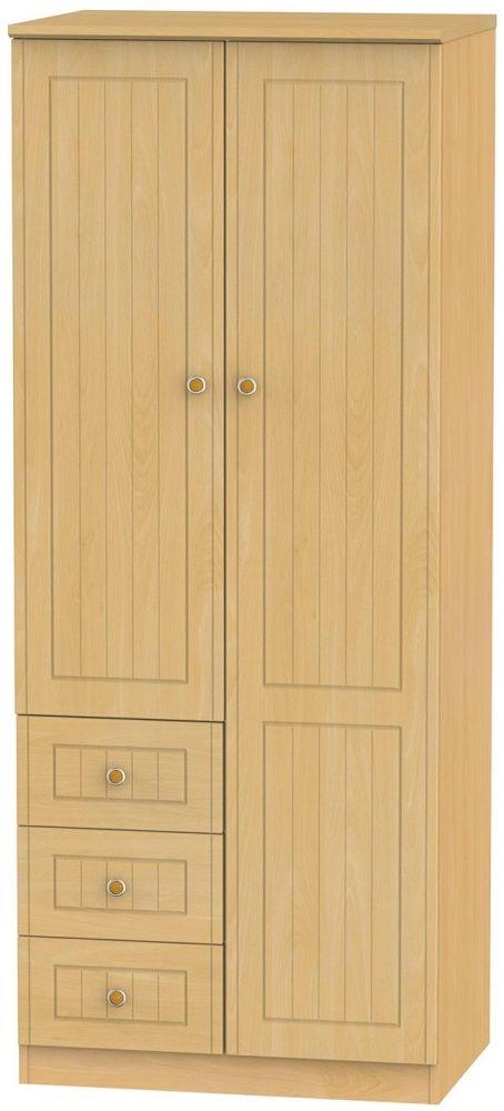 Warwick Beech Combination Wardrobe - 2ft 6in