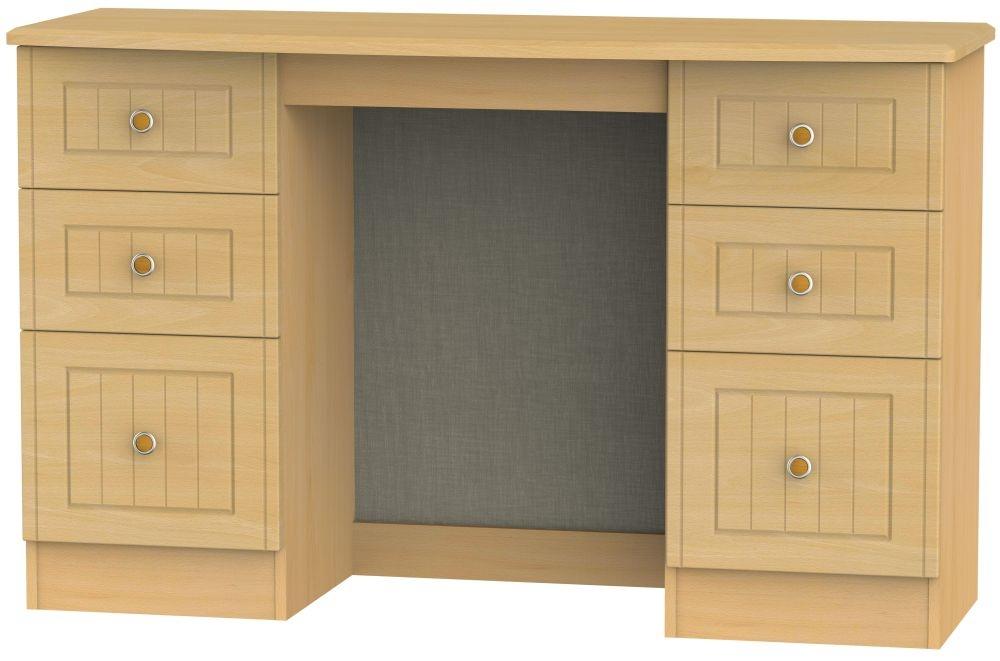 Warwick Beech Double Pedestal Dressing Table