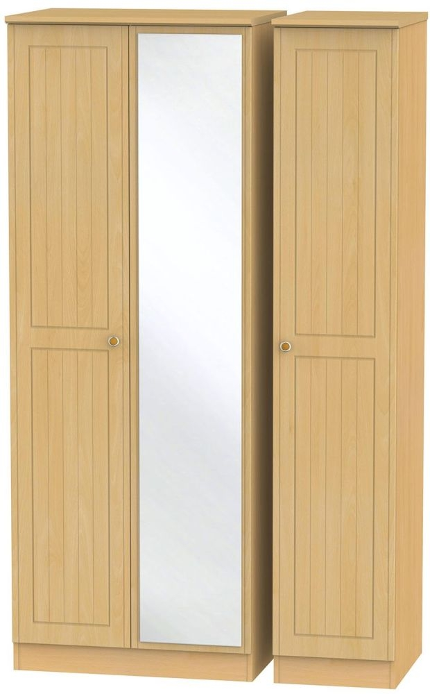 Warwick Beech Triple Wardrobe - Tall with Mirror