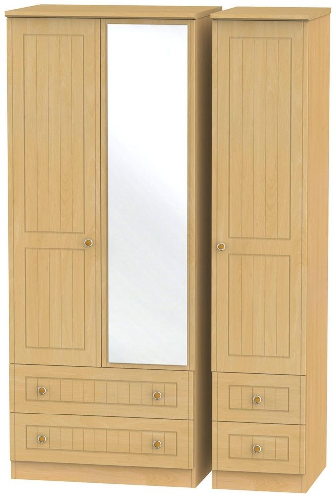 Warwick Beech Triple Wardrobe with Drawer and Mirror