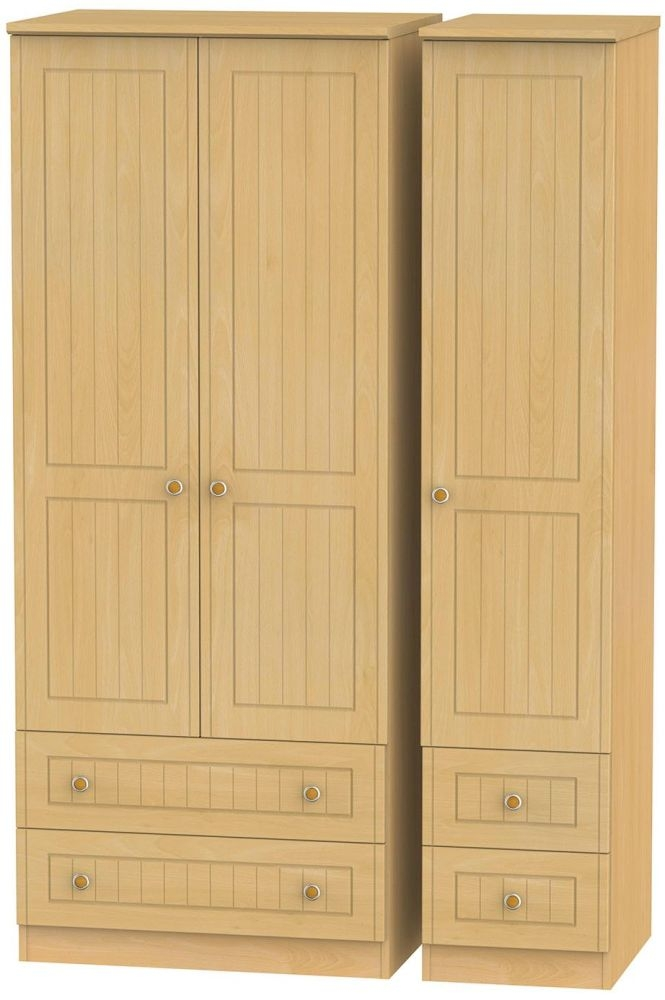 Warwick Beech Triple Wardrobe with Drawer