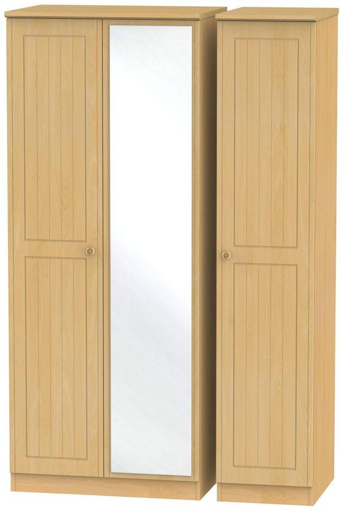 Warwick Beech Triple Wardrobe with Mirror