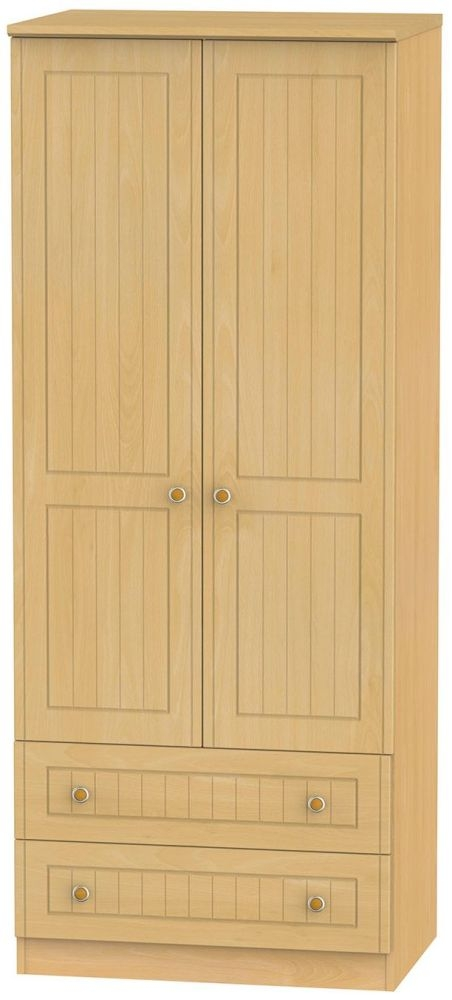 Warwick Beech Wardrobe - 2ft 6in with 2 Drawer